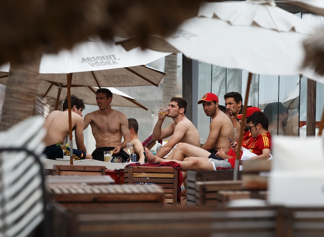Spain players relax ahead of the semifinals. (Getty)