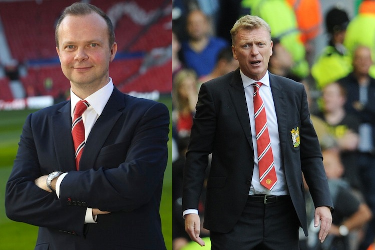 Man United chief executive Ed Woodward (left) and manager David Moyes. (Getty)