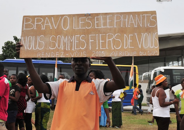 "Another sign reads ""Bravo Elephants. We are proud of you. Appointment in 2013 South Africa."" (Getty)."""