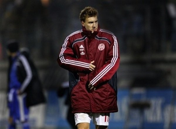 Nicklas Bendtner confused about why no one is kissig his feet. (AP)