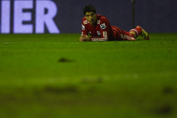 Luis Suarez on the ground. (Getty)
