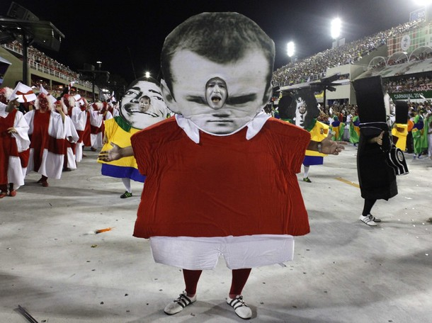 A man in a Wayne Rooney costume at the Carnival parade in Rio's Sambadrome. (Reuters)