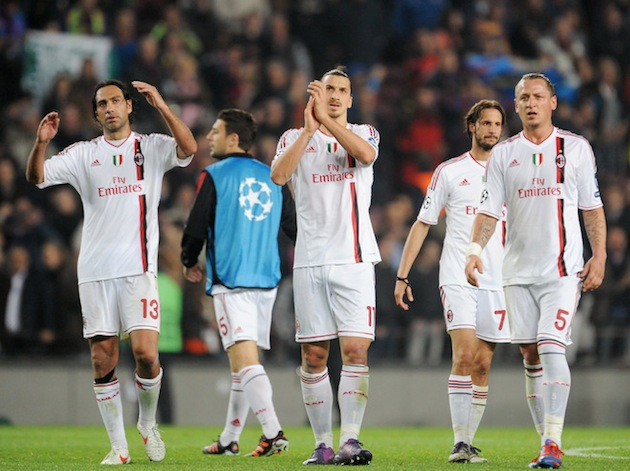 Zlatan Ibrahimovic (center) applauds after losing to Barcelona. (Getty)