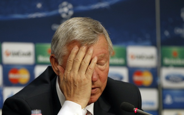 Alex Ferguson introduces his face to his palm. (AP)
