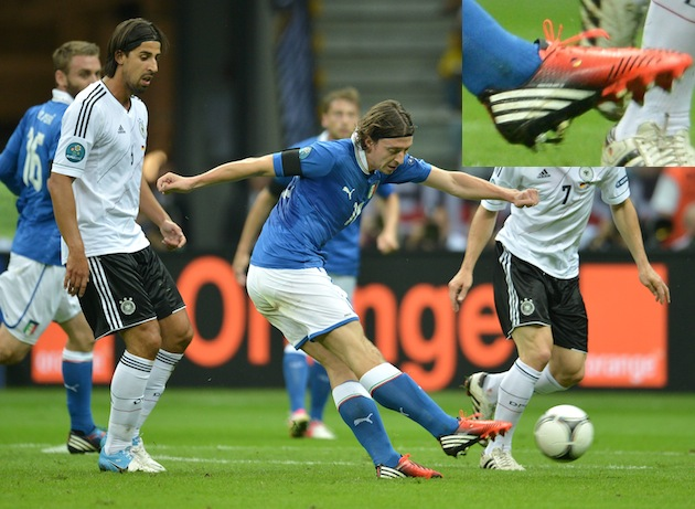 Riccardo Montolivo using his German boot against Germany. (AP)