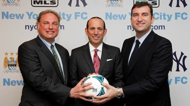 Yankees president Randy Levine (left), MLS commish Don Garber and MCFC CEO Ferran Soriano.