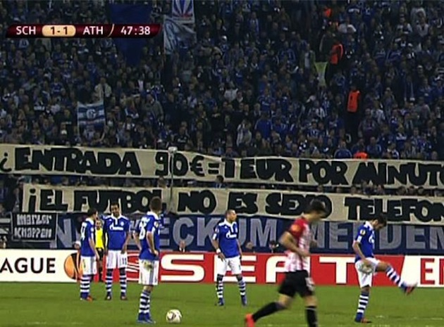Schalke fans protest Europa League ticket prices in Spain.