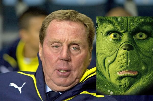 The Grinch (left) and Harry Redknapp (right).