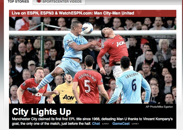 ESPN.com's frontpage gives the title to Man City. (screengrab courtesy Chris B.)