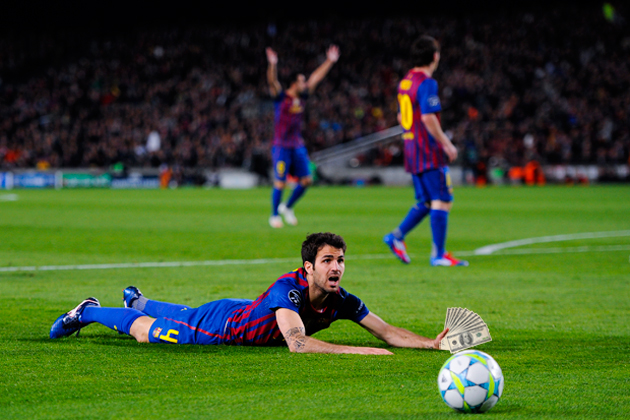 Cesc Fabregas earned more money laying down in this game than you did this week (Getty)