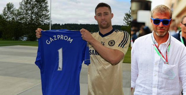 Gary Cahill had to legally change his name to Gary Gazprom as part of the deal. (Chelsea FC)