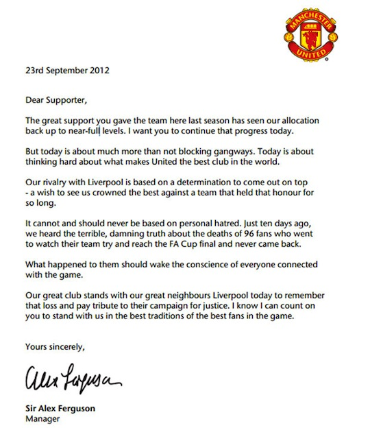 Letter from Alex Ferguson urging respect to be given to Man Utd fans at Anfield