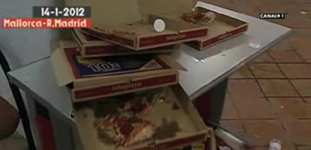 The remnants of Real Madrid's dressing room pizza party.