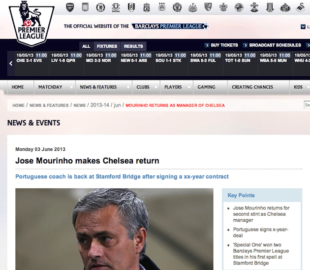 Premier League website posts Jose Mourinho to Chelsea announcement early