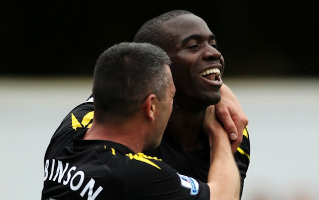 Fabrice Muamba celebrates after scoring against QPR in August. (Getty)