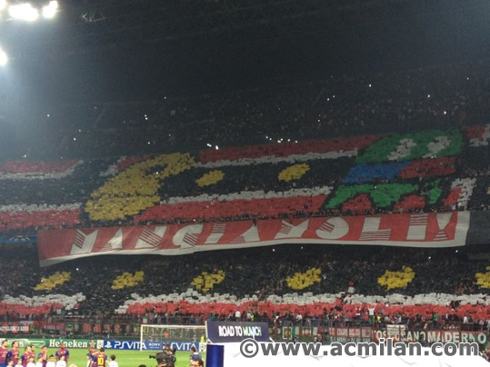 Pac-Man chases a Barca ghost at the San Siro. (AC Milan)
