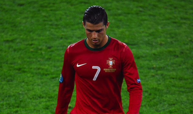Cristiano Ronaldo dejected, but with every hair firmly in place. (Getty)