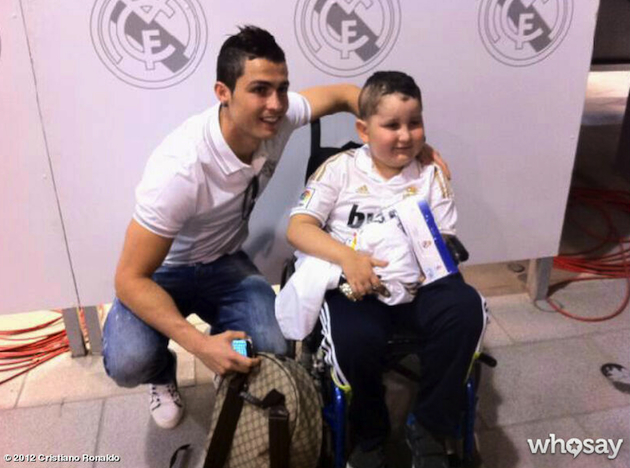 Cristiano Ronaldo with 9-year-old Nuhazet in Madrid. (WhoSay)