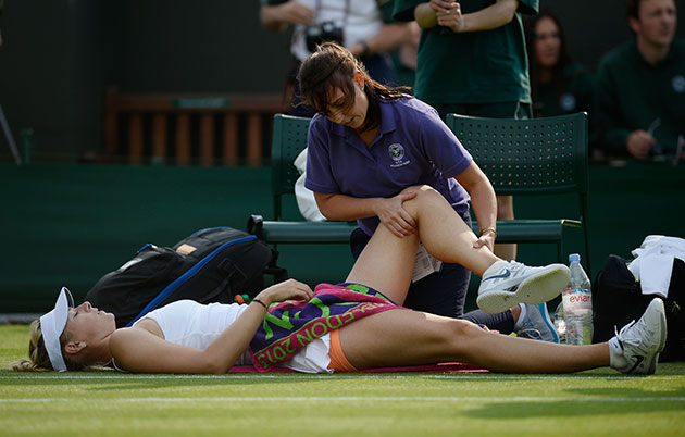 Maria Sharapova immediately after a fall. (Getty Images)
