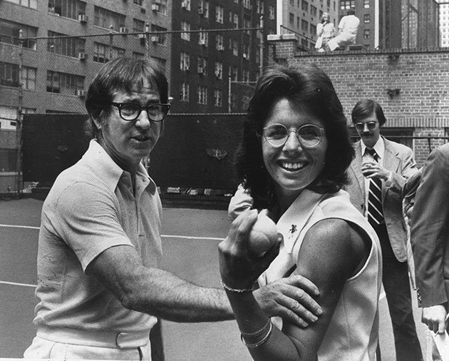Bobby Riggs and Billie Jean King in 1973. (Getty Images)