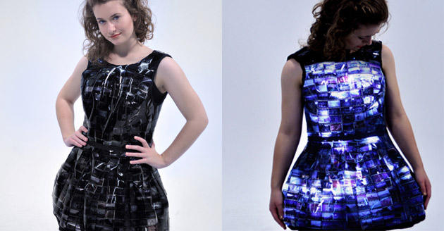 Outfitted with film slides and LED backlight, this dress lights up in the dark