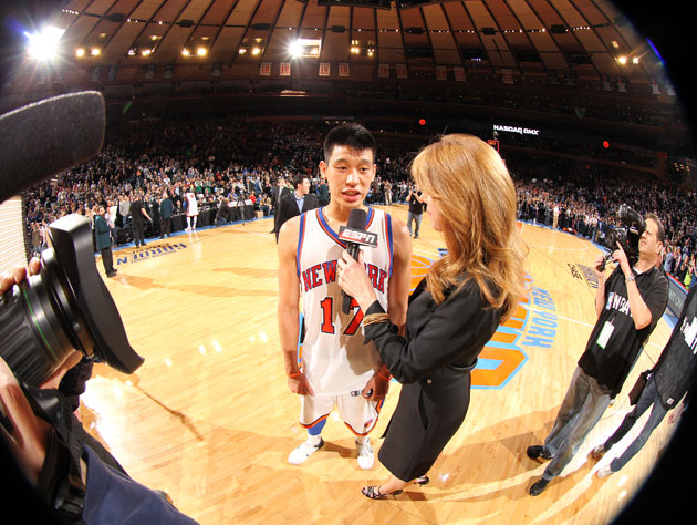 Jeremy Lin following the New York Knicks win on Sunday. (Getty)