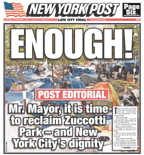 New York Post to Occupy Wall Street protesters: 'ENOUGH!'