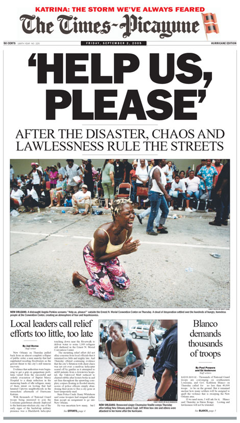Cover of the Times-Picayune, Sept. 2, 2005