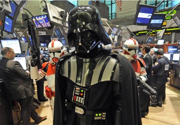 Darth Vader is escorted by storm troopers while touring the floor of the New York Stock Exchange, Dec. 22, 2009. (AP/Henny Ray Abrams)