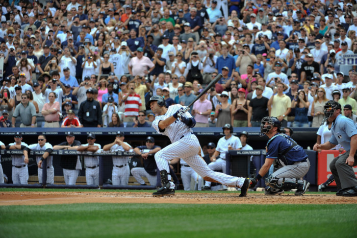 Derek Jeter's 3,000th career hit, a solo home run, July 9, 2011 at Yankee Stadium in New York. (AP)
