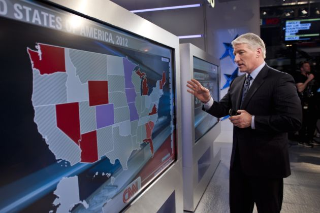 John King uses CNN's Magic Wall on Super Tuesday. (David S. Holloway)