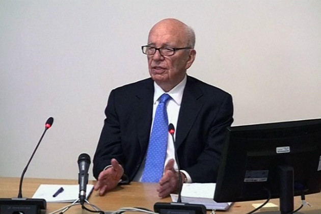 Rupert Murdoch resumes his testimony in London, April 26, 2012. (AP/Pool)