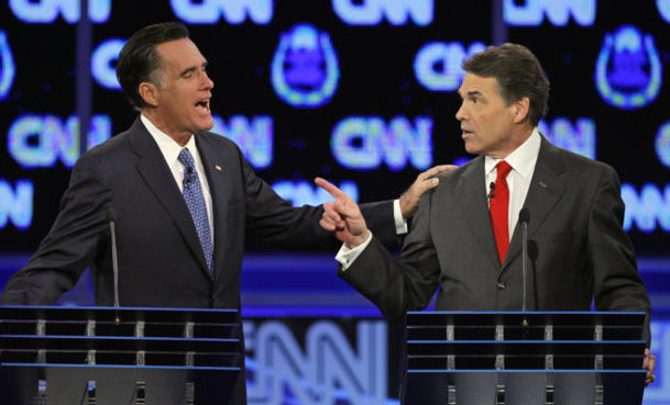 Romney and Perry at CNN's debate in Las Vegas. (Chris Carlson/AP)