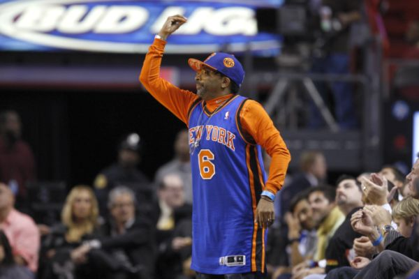 "Spike Lee ""watches"" a Knicks game, Dec. 2010. (AP)"