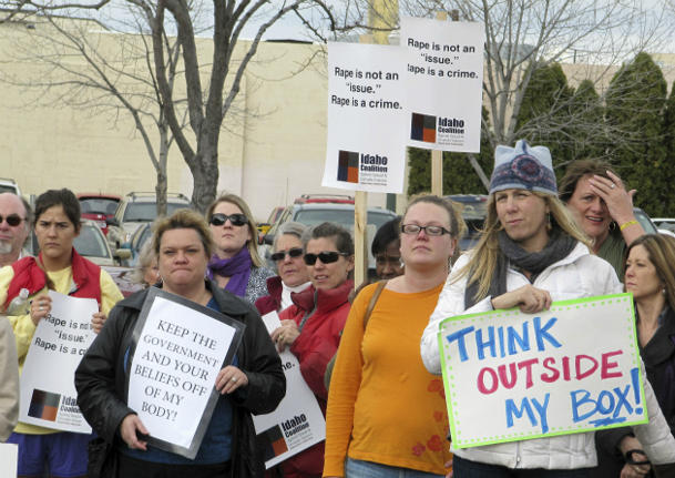 Protesters opposed to legislation in Boise, Idaho, March 21, 2012. (Jessie L. Bonner/AP)