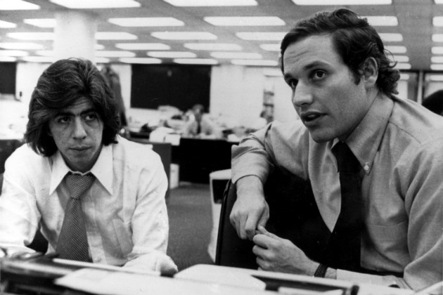 Bernstein and Woodward in the Washington Post newsroom in 1973. (AP)