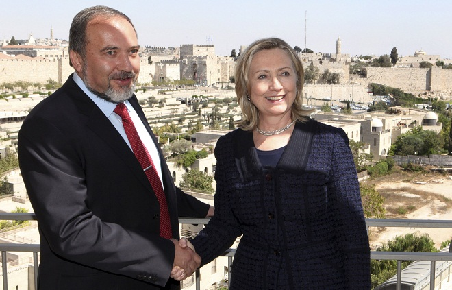 Secretary of State Hillary Clinton and Israeli Foreign Minister Avigdor Lieberman at their last meeting in Jerusalem in September 2010. (Yossi Zamir, Pool/AP)
