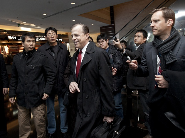 U.S. negotiator Glyn Davies speaks to the media as he arrived in Beijing to holds talks with North Korean envoys Feb. 23, 2012. (Andy Wong/AP)
