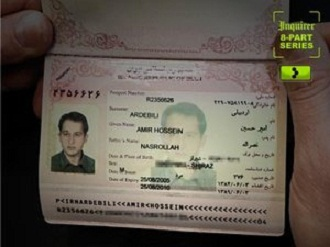 Passport for Amir Hossein Ardebili, an Iranian arms broker, who the U.S. deported to Iran March 13, 2012 after imprisoning him for over four years. (Philly Inquirer)