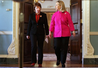 European Union foreign policy chief Catherine Ashton (left) attends a new conference with Secretary of State Hillary Clinton Feb. 17 2012. (Jacquelyn Martin/AP)
