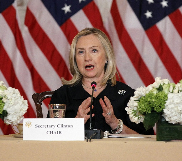 Secretary of State Hillary Clinton hosted international women's business leaders Jan. 24, 2012. (Pablo Martinez Monsivais/AP)