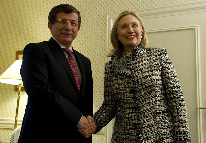 Secretary of State Hillary Clinton met with Turkish Foreign Minister Ahmet Davutoglu in Munich Feb. 4, 2012. (Jim Watson/AP)