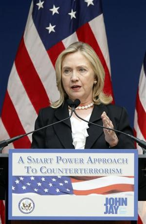 Hillary Clinton speaking on counterterrorism in New York September 9, 2011. (AP)