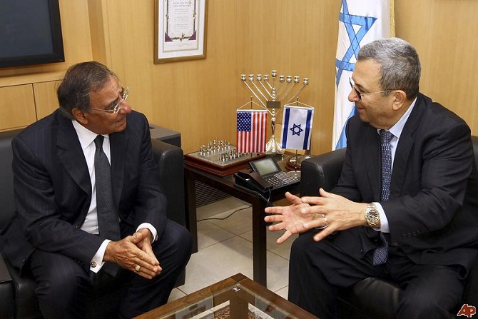 Defense Sec. Leon Panetta met with Israeli Defense Min. Ehud Barak in Tel Aviv Oct. 3, 2011. (Win McNamee/AP/Pool)