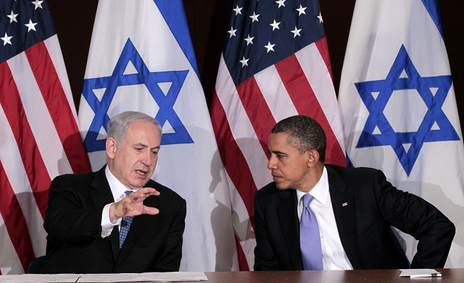 Israeli Prime Minister Benjamin Netanyahu meets with President Obama at the UN Sept. 21, 2011. (Pablo Martinez Monsivais/AP)