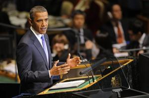 Pres. Obama speaks at the UN General Assembly on Sept. 23, 2010. (Henny Ray Abrams/AP)