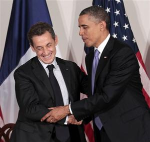 French President Nicolas Sarkozy and Pres. Obama met in New York Sept. 21, 2011. (Pablo Martinez Monsivais/AP)