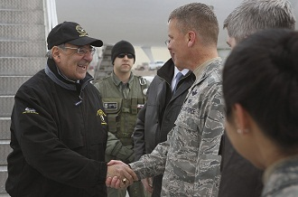 Defense Secretary Leon Panetta arrives at the Manas Air Base, Kyrgyzstan March 13, 2012. (Scott Olson/AP)