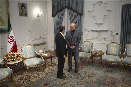 Iran Pres. Ahmadinejad talks with Foreign Minister Ali Akbar Salehi (R) ahead of a meeting with Turkey's Foreign Minister January 5, 2012.  (Morteza Nikoubazl/Reuters)