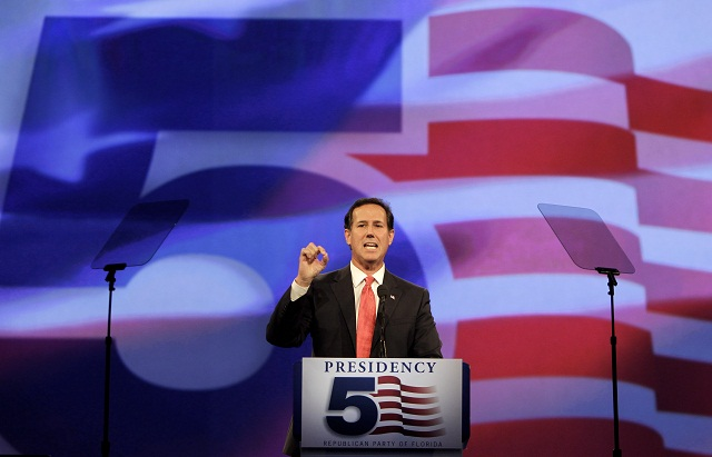 Rick Santorum speaks in Orlanda, Florida on September 24, 2011. (John Raoux/AP)